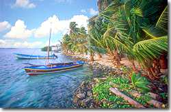 East Shore on Tobacco Caye with fishing boats